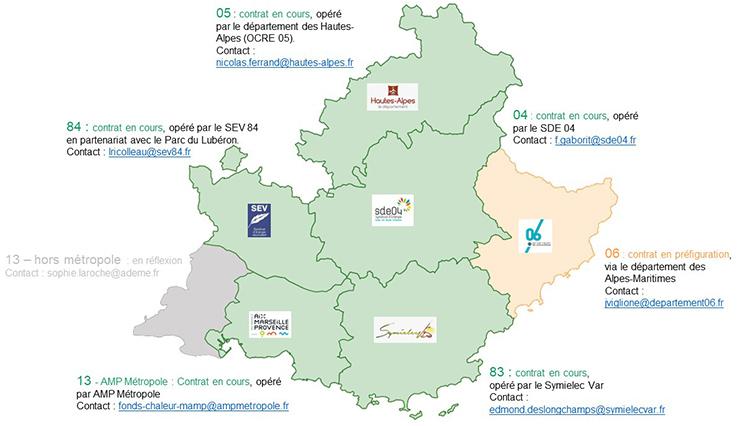 Carte des opérateurs territoriaux des Contrats de développement territoriaux d'EnR&R. Voir descriptif détaillé ci-après